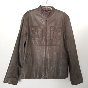 Ted Baker Distressed Genuine Leather Taupe Jacket